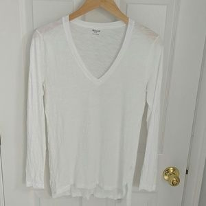 Madewell Whisper Cotton Long Sleeve V Neck White